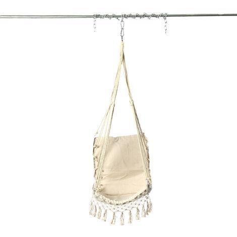 120cm Swing Chair Hammock Hanging Seat Cotton Rope For Indoor Outdoor Garden