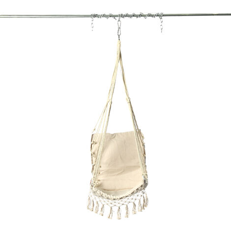 120cm Swing Chair Hammock Hanging Seat Cotton Rope For Indoor Outdoor Garden white