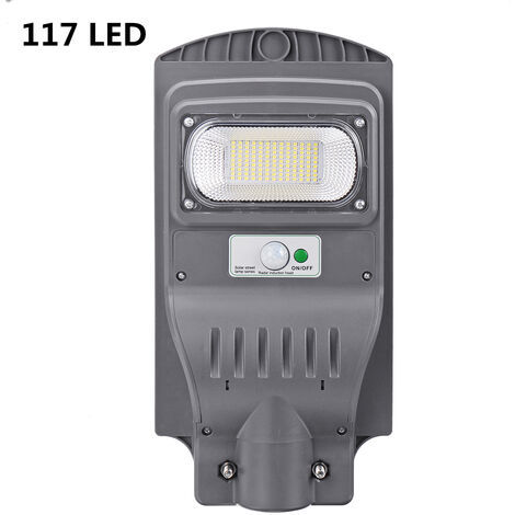 120W 117 LED Solar Street Light Wall Lamp IP65 Remote Motion Sensor Outdoor grey 50W Battery not include