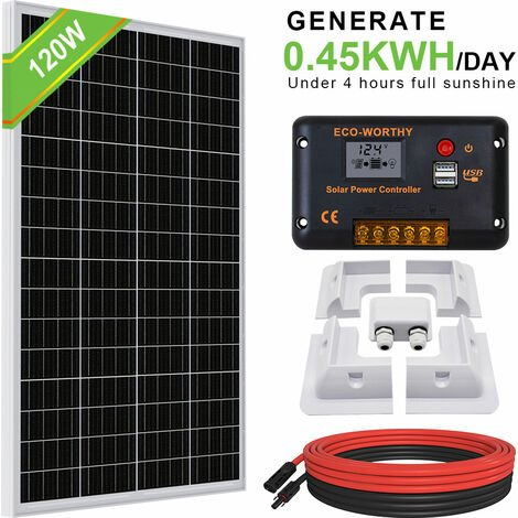 """main image of """"120W 12V Mono Solar Panel+20A Controller & whole set ABS Bracket for Car RV"""""""