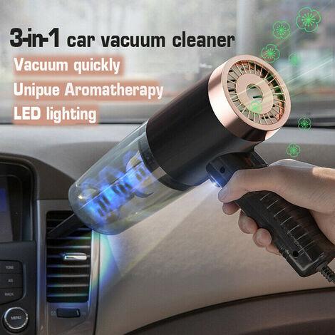 120W aspirateur humide et sec de voiture sans fil de poche 3 en 1 maison rechargeable portable avec cordon d'alimentation de 5 mètres - Noir / rose / blanc (7pcs Set d'aspirateur de voiture noir)