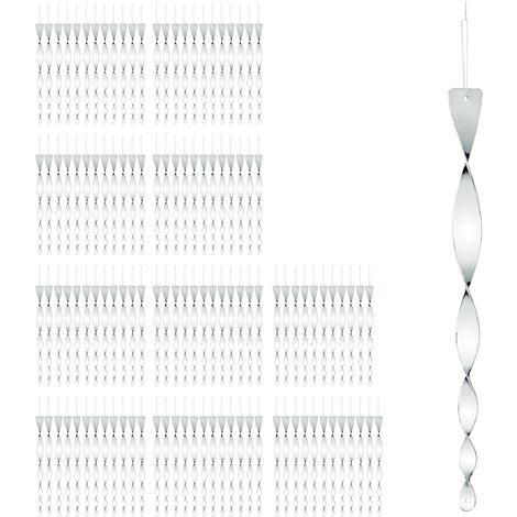 120x Set Maxi Spaventapasseri a Spirale, Riflettente, Balcone & Giardino, 40 cm, Allontana Piccioni, Argento
