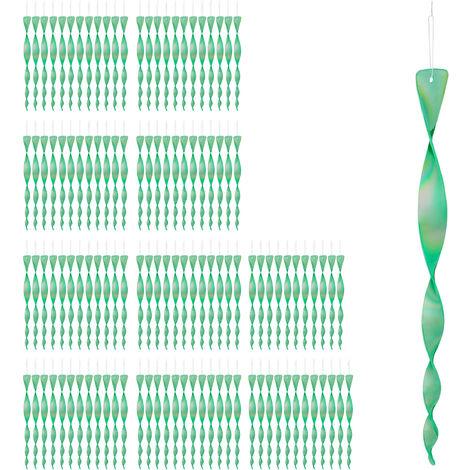 120x Set Spaventapasseri a Spirale, Riflettente, Balcone & Giardino, 40 cm, Allontana Piccioni, Verde