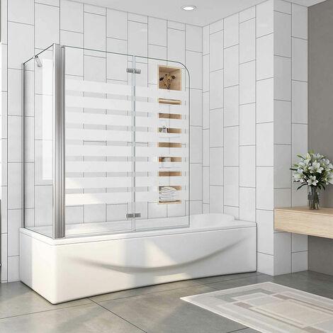 120x140cm Badewanne Aufsatz Faltwand 6mm ESG Glas mit Seitenwand