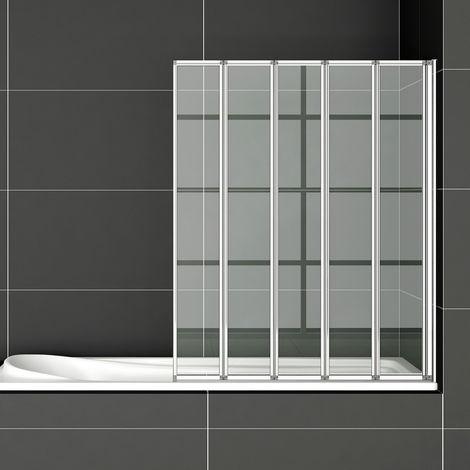 120x140cm Bath screen Pare baignoire 5 volets rétractables et pliants 4mm verre trempé