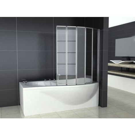120x140cm Bath screen, Pare baignoire 5 volets rétractables et pliants, 4mm verre trempé, porte de baignoire pivotante 180°, Volets rabattables