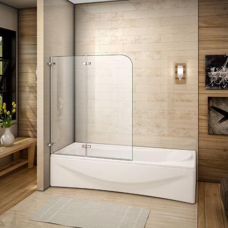 120x140cm Pare baignoire pivotant et repliable 180°, 5mm verre de sécurité