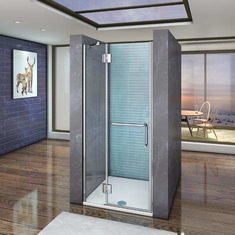 120x190cm, paroi de douche battante, cabine de douche à charnière, porte de douche pivotante, porte-serviette, installation en niche,Vitrification NANO,anticalcaire