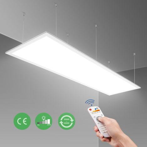 120x30cm Panel LED Techo Regulable 40W, Panel Led Rectangular Superficie/Colgante para Techo de Despacho Oficina, Cocina, Comedor