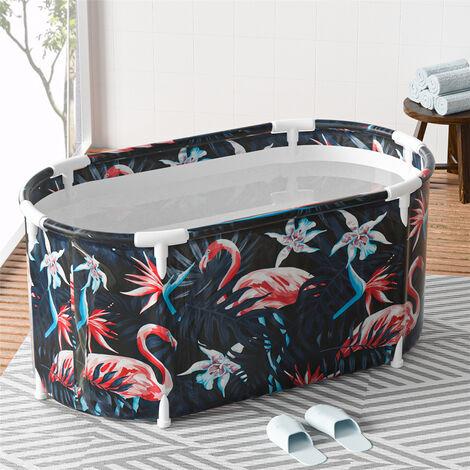 """main image of """"120x60x60cm Vasca da bagno pieghevole Vasca da bagno portatile Secchio per vasca idromassaggio per bambini per adulti (Blue Flamingo)"""""""