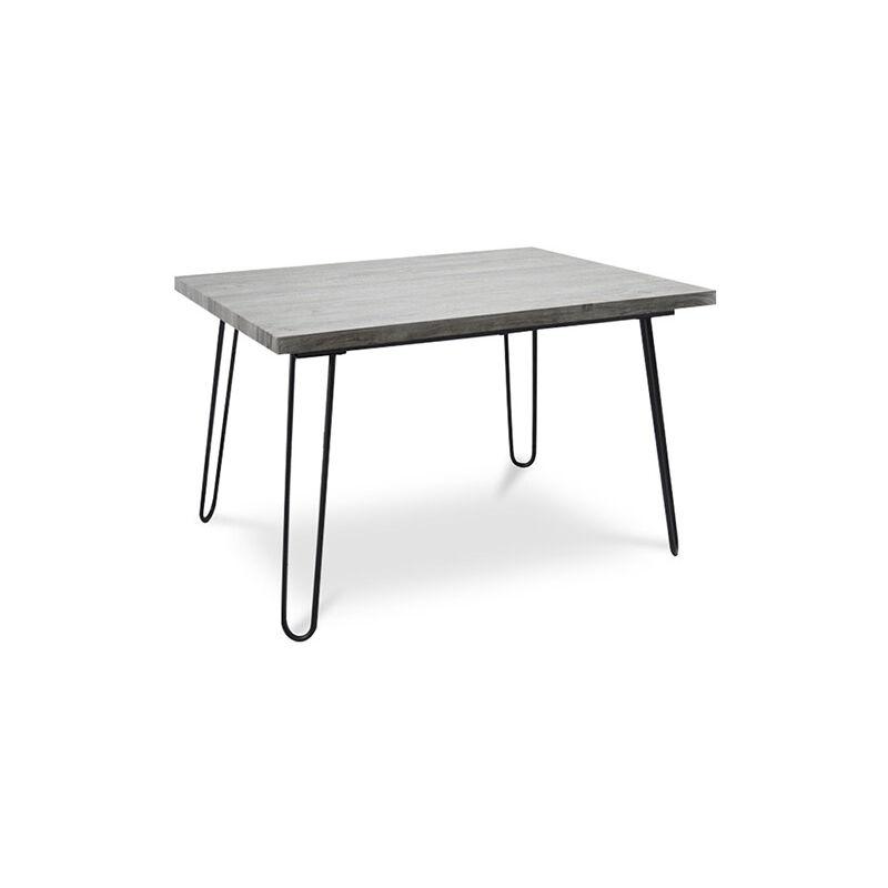 120x90 Esstisch Hairpin - Holz und Metall Grau - PRIVATEFLOOR