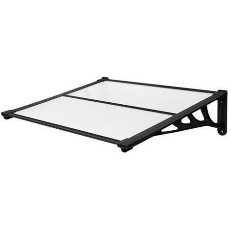 120x90cm Door Canopy Transparent Awning Shelter Front Back Porch Outdoor Shade Patio Roof-Black