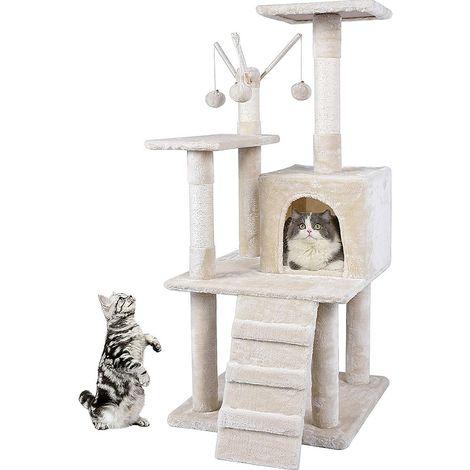 121CM Cat Tree Beige Scratch Tree Climbing Play