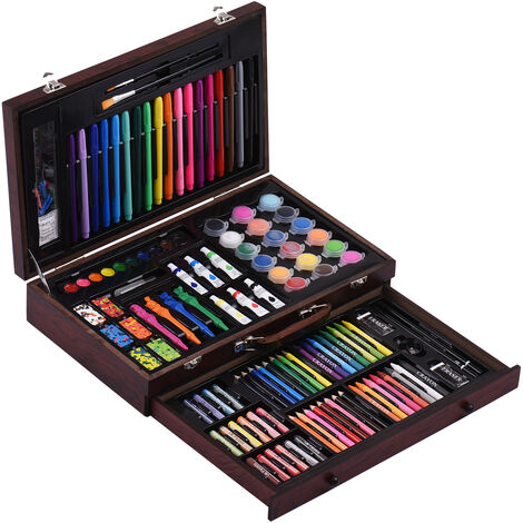 123 Piece Deluxe Art Ensemble Dans La Peinture De Cas En Bois Et Dessin Kit Pastels Crayons De Couleur Crayons De Couleur Marqueurs Cakes Aquarelle Pinceaux Peintures Acryliques Sharpener Gomme Fournitures D'Art