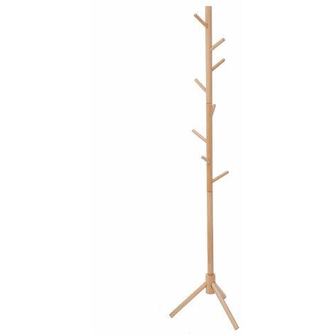 125 / 175cm wooden tree coat rack stand floor standing coat hanger hanger 6 hooks for coats hats scarves clothes handbags