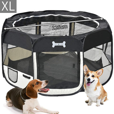 125 CM puppy house foldable puppy run animal playpen enclosure dogs rabbits black