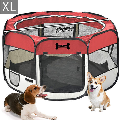 125 CM puppy house foldable puppy run animal playpen enclosure dogs rabbits red