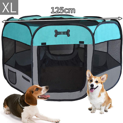 125 CM puppy house foldable puppy run animal playpen enclosure dogs rabbits turquoise