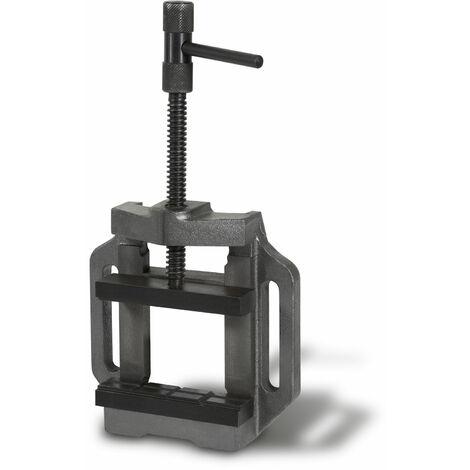 125 mm Ètau pour perceuse (125 mm Largeur de mâchoire, 100 mm Ouverture de mâchoire, Acier moulé, Construction robuste)