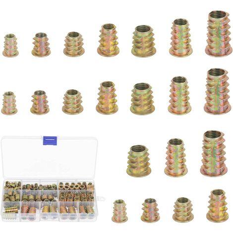125pcs écrous à visser en alliage de zinc à six pans creux inserts filetés écrou assortiment d'outils Kit pour meubles en bois