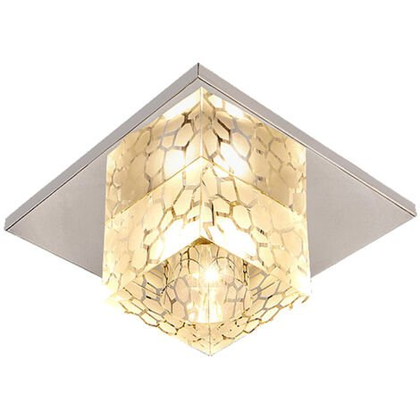 12cm Modern Ceiling Light Water Cube Crystal Lamp Luxury LED Square Crystal Chandeliers for Kitchen Home Office Dining Room Bedroom Coffee(Warm)