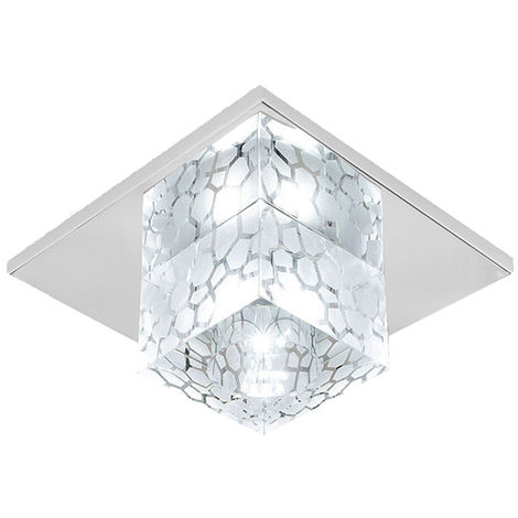 12cm Modern Ceiling Light Water Cube Crystal Lamp Luxury LED Square Crystal Chandeliers for Kitchen Home Office Dining Room Bedroom Coffee(White)
