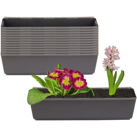 12er Set Pflanzkasten inkl. Aufhänger für Europalette - Blumenkübel in Anthrazit - LxBxH ca. 37 x 13,5 x 9,5 cm - Ideal zum Hängen & Stellen - Robust & wetterfest -