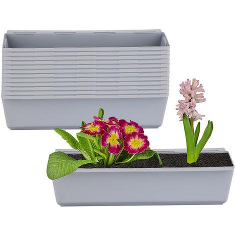 12er Set Pflanzkasten inkl. Aufhänger für Europalette - Blumenkübel in Grau - LxBxH ca. 37 x 13,5 x 9,5 cm - Ideal zum Hängen & Stellen - Robust & wetterfest -