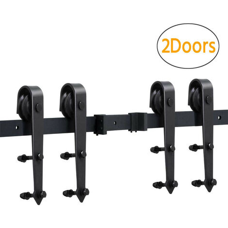 12FT Barn Kitchen Room Wood Door Hardware Steel Sliding Track Set Hanger Kit