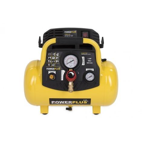 12L Druckluft Kompressor ölfrei 10 bar 1,5 PS 12 Liter Tank tragbar Drucksteuerung - POWERPLUS