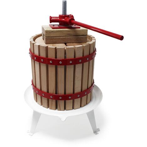 12L Presse à fruits incl. torchon pour pressoir vin fruit chêne cidre de pommes