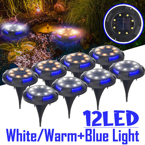 12LED solar energy buried light under the ground lamp Outdoor path Garden path ZLL & # 65281;?(assorted blue, 1pcs 12LED)