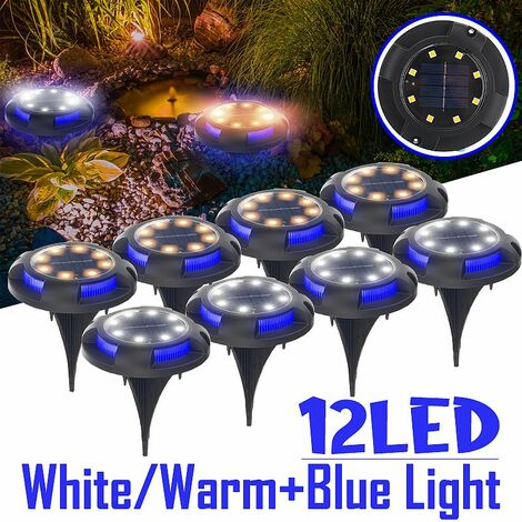 12LED solar energy buried light under the ground lamp Outdoor path Garden path ZLL & # 65281;?(matching blue white, 1 pcs 12 LEDs)
