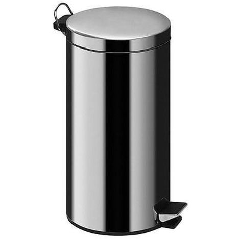 12Ltr Pedal Bin,Mirror Polished Stainless Steel,Inner Plastic Bucket