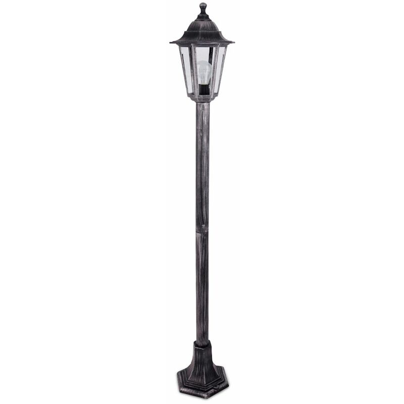 Image of 1.2M Black & Silver Outdoor Lamp Post Bollard & Top Lantern Light - Ip44 + 6W LED Es E27 Bulb