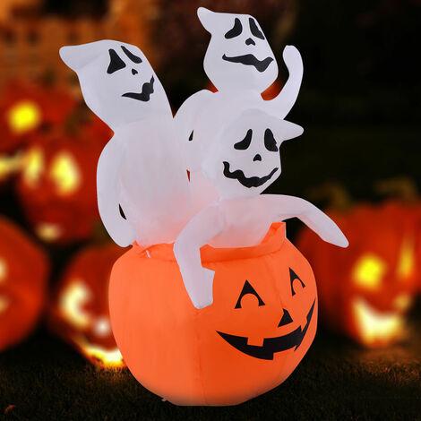 1.2m Inflatable Pumpkin Ghost Halloween Decoration Light Up Outdoor/Indoor
