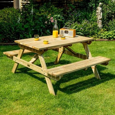 Traditional Wooden Picnic Bench 1.5m / 5ft