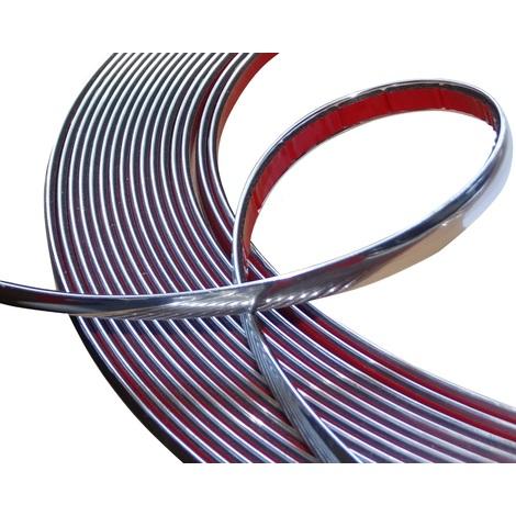 12mm 4.5m Bande baguette adhésive couleur chrome nickel argent