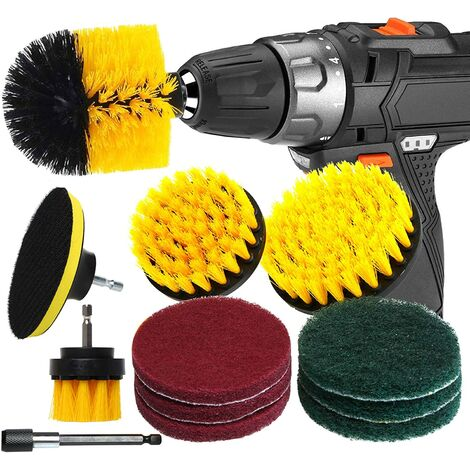 12pcs Drill Brush and Metal Extension Rod Brush Electric Drill Cleaning Car Bathroom Bathtub Kitchen Tile Window Tires