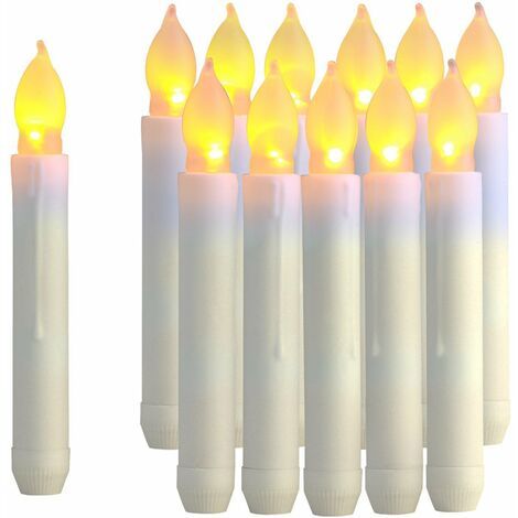"""main image of """"12PCS LED Taper Candle Lights, Flameless Battery Operated Window Candles for Christmas Wedding Birthday Party Mothers Day Gifts, Warm Yellow, Dia 0.79""""x 6.5"""""""""""
