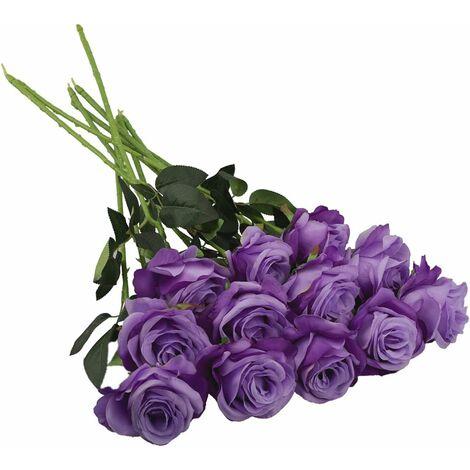 12Pcs Roses Artificielles, 19,7 Pouces Fausse Fleur De Soie À Tige Longue Simple pour Bouquets De Mariage De Mariée, Décoration D'hôtel De Bureau De Fête À La Maison, Centres De Table(Violet)