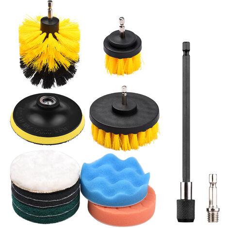 12PCS / SET Kit de almohadillas de fregado de cepillo de taladro electrico, Kit de limpieza de depurador electrico