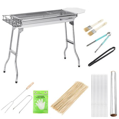 12PCS Stainless Steel Folding Charcoal Grill Set 5-15 Persons 74x33.5x70cm