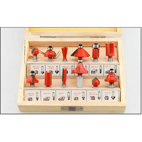 12PCS Trépan de tronçonnage incliné en carbure de tungstène de 6,35 mm 1/4 po avec une clé (rouge)