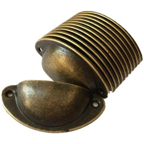 12pcs Vintage Coquille Fer Poignée Porte Cabinet Meuble Bouton Tiroir Placard Tirer Avec Vis 8,2 cm x 3,5 cm Laiton Antique