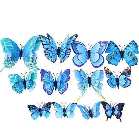 12Pcs Wall Stickers Double Layer PVC Butterfly Shape Wall Decal Sticker