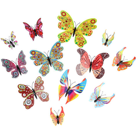 12Pcs Wall Stickers PVC Butterfly Shape Wall Decal Sticker Home Living Room Nursery Refrigerator Stickers DIY Art Decoration
