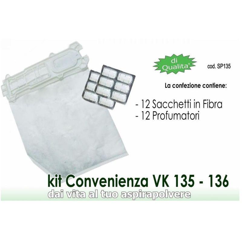 per aspirapolvere Vorwerk Folletto Kobold VK 135 Microfibra VK135 12 Sacchi//Sacchetti 136 VK136