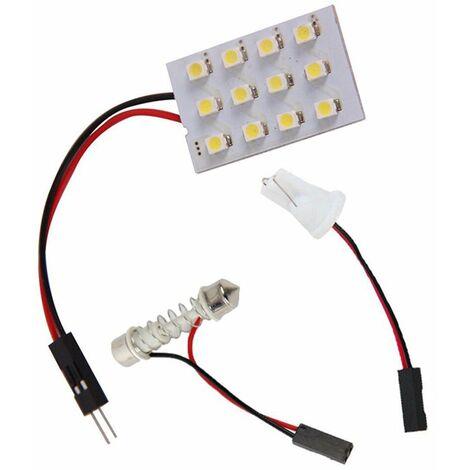 12Smd 3528 12 Led Panneau Blanc Voiture Lecture Carte Lampe Auto Dome Interieur Ampoule Toit Lumiere Avec Adaptateur T10