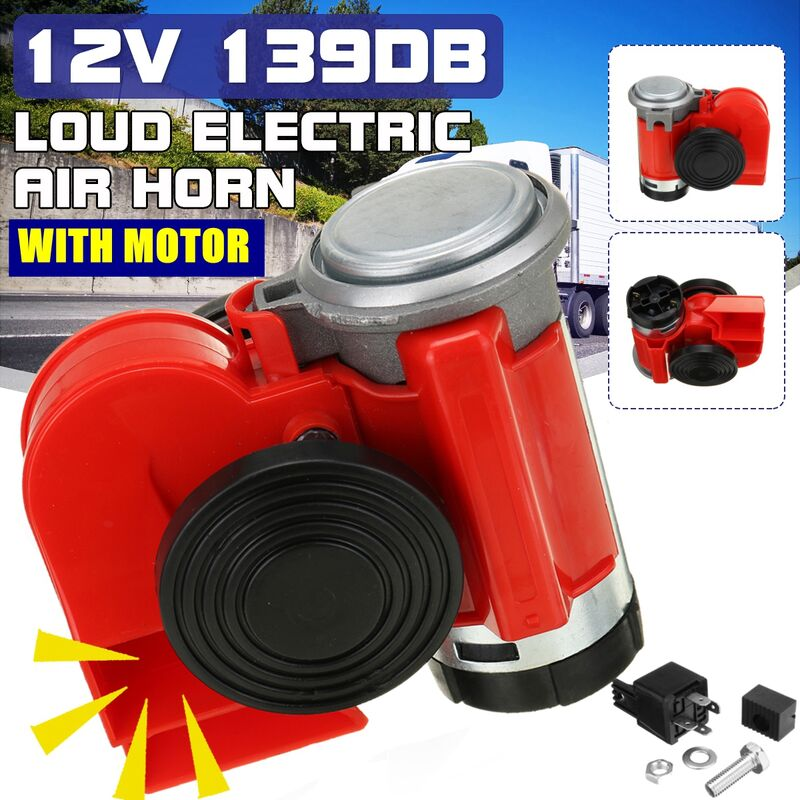 12V 139dB electric pump loudspeaker compact dual tone horn with silver motor (red, 12V type A)